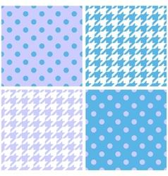 Blue white and violet houndstooth background set vector image vector image
