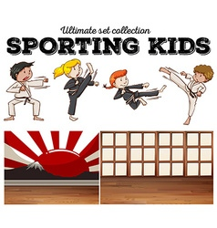 Boys and girls doing martial arts vector