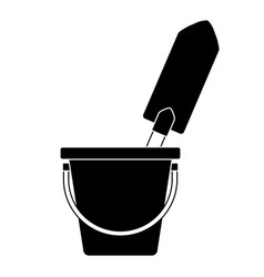 bucket with gardening shovel vector image