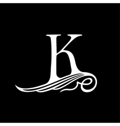Capital Letter K for Monograms Emblems and Logos vector image vector image