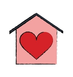 Cartoon house love heart beauitful card vector