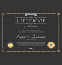 certificate or diploma retro design template 6 vector image vector image
