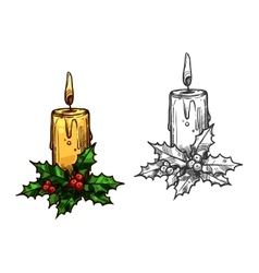 Christmas candle tree light on holly leaves sketch vector