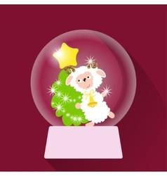 Christmas Snow globe with sheep vector image vector image