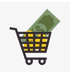 Coins money in cart shopping isolated icon vector