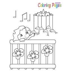Coloring Book Baby in bed vector image