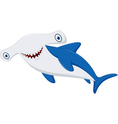 cute hammerhead shark cartoon vector image vector image
