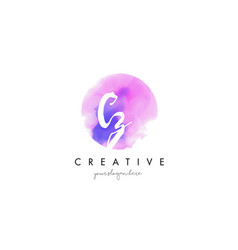 Cz watercolor letter logo design with purple vector