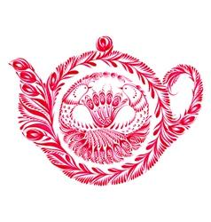 Decorative ornament teapot vector
