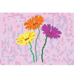 flowers on purple background in pixels vector image vector image