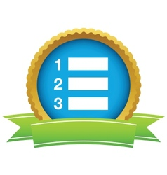 Gold list logo vector image