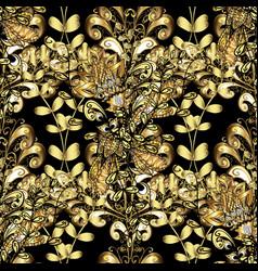 Golden pattern oriental style arabesques black vector