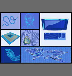 Internet and computer technologies set vector