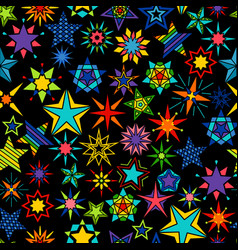 kaleidoscope stars black background vector image vector image