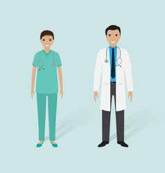 male doctor and female nurse with shadows vector image vector image
