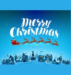 merry christmas greeting card santa claus rides vector image vector image