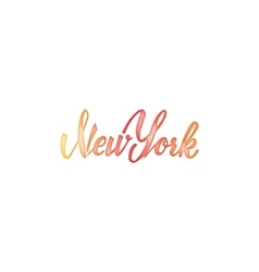 New york - hand drawn watercolor calligraphy and vector
