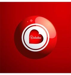 Red bingo ball with valentine heart vector