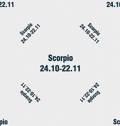 Scorpio sign seamless pattern with geometric vector