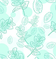 Seamless pattern with mint and its leaf vector