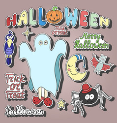 set of cartoon halloween characters and words vector image vector image