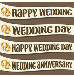 Set of ribbons with wedding wishes vector