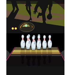 Skittles in a bowling alley vector