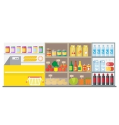 Supermarket shop interior with showcase and vector image