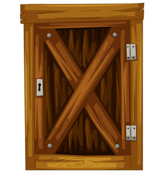 wooden door on white background vector image vector image
