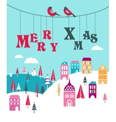 Christmas background with homes vector
