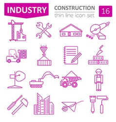 Construction and house repair icon set thin line vector
