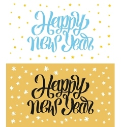 Happy new year hand-lettering text handmade vector