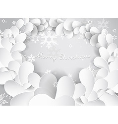 Christmas background with snow flakes leafs and vector image