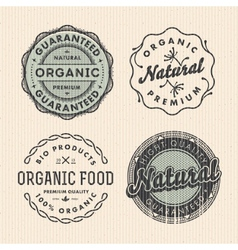 Set vintage organic labels vector