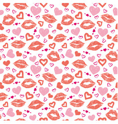 Female lips hearts seamless pattern vector