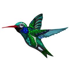 flying green-blue bird hummingbird colibri vector image