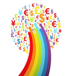 Abstract rainbow money tree vector image