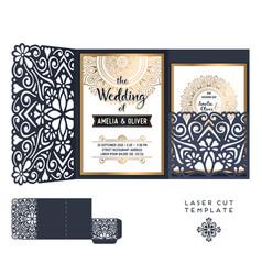 Wedding card laser cut template vintage vector