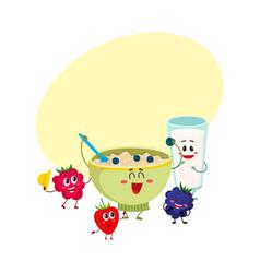 Funny smiling oatmeal porridge bowl and raspberry vector