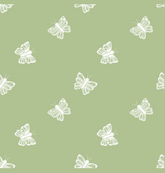 Flying butterfly seamless pattern in retro style vector