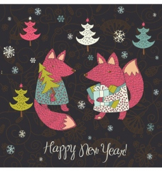Christmas card with fox vector image