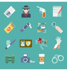 Detective icons set vector