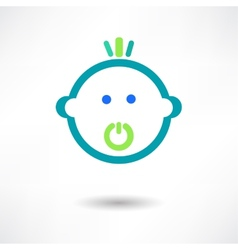 Cartoon cute baby with pacifier vector