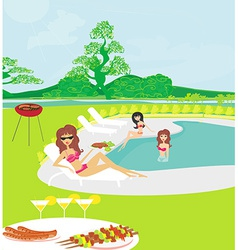 Girls having a barbeque party vector