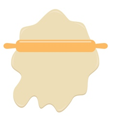 Dough and wooden rolling pin plunger bakery tool vector
