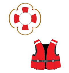 Life jacket and buoy vector