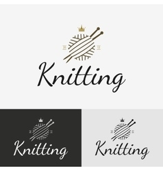 Hand knit logo badge or label vector