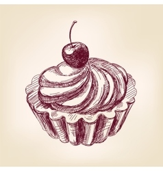 Cherry cupcake hand drawn llustration vector