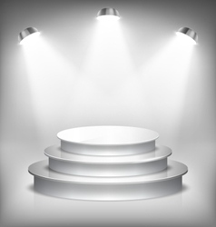 Illuminated glossy stage podium to place product vector