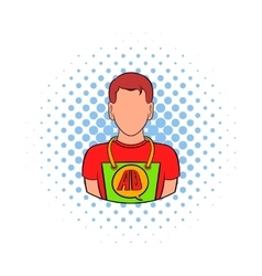 Man in uniform icon comics style vector